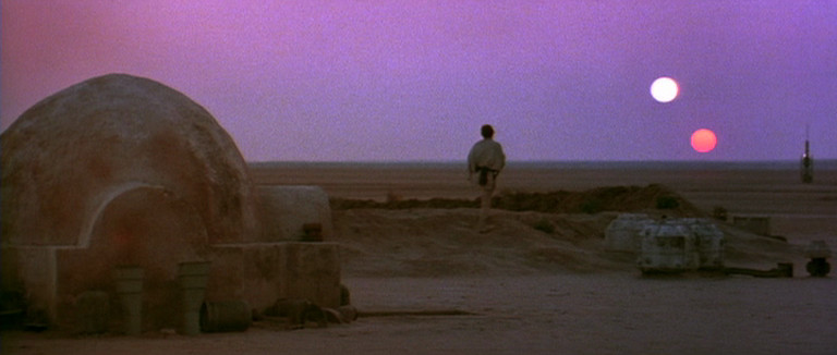 "The ""Binary Sunset"" scene in Star Wars: A New Hope"