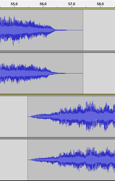 Waveform of a sample transition using crossfading