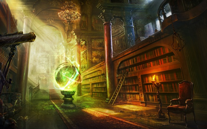 Painting of a wizard's library