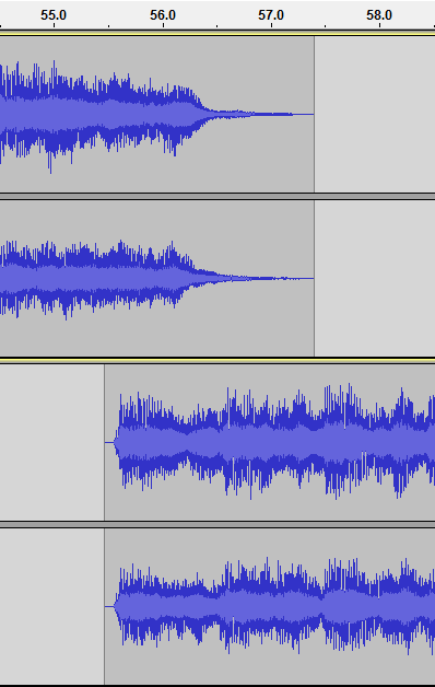 Waveform of a sample transition using overlap